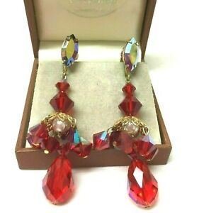 Vintage Jewellery Stunning Lew Segal USA Red Crystal Chandelier Clip On Earrings