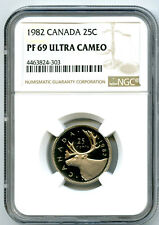 1982 CANADA 25 CENT NGC PF69 ULTRA CAMEO QUARTER PROOF TOP POP ONLY 16 KNOWN
