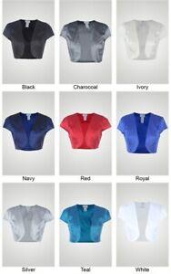 Fashion Secrets Women`s Satin Bolero Cardigan Shrug Cardigan Formal Jacket