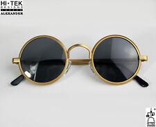 Hi Tek round sunglasses gold polarized Retro unisex Steampunk Goth John Lennon