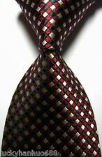 New Classic Checks Red Black Beige JACQUARD WOVEN 100% Silk Men's Tie Necktie