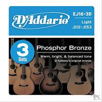 D'addario 3 Sets EJ16 Light Acoustic Guitar Strings EJ 16 3D Pack 12-53