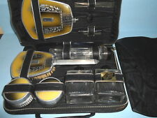 Antique VICTORIAN ART DECO Ladies TRAVEL VANITY SET~Leather Zip Case~GLASS JARS