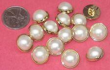 """Set 15 Faux PEARL Cab in Gold Shank Buttons New 5/8"""""""
