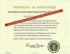 Certificate of Appreciation Replacement, U.S. Presidents Thank you Lette