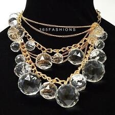 STATEMENT FAUX CRYSTAL BALL CLUSTER GEOMETRIC DRAPE MULTI CHAIN NECKLACE GOLD
