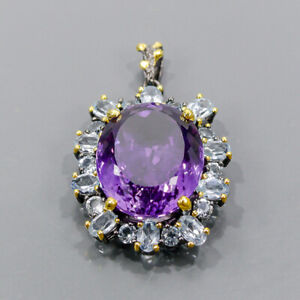37ct+ IF AAA color gem Amethyst Pendant Silver 925 Sterling  /NP14732