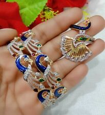 Indian Gold Plated American Diamond Ring Blue Bangle Bracelet Jewelry Peacock