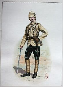 1899 Officer 1st Battalion The Highland Light Infantry Painting by ALIX BAKER!