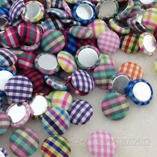 10/50/100pc 15mm round Plaid fabric covered button with flat back jewelry CT20