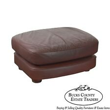 Classic Leather Bun Foot Russet Brown Leather Ottoman
