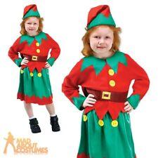 Childs Santas Helper Costume Christmas Elf Kids Girls Xmas Kids Fancy Dress