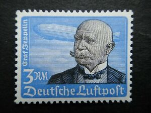 Germany Nazi 1934 Airmail Stamps MNH Count Ferdinand von Zeppelin 3M Air Mail WW