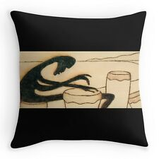 THROW PILLOW w/EXCLUSIVE COMPELLING SOLAR ETCHED DESIGN ~ Afro Drummer