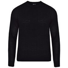 Mens Cable Knit Jumper Sweater Pullover Long Sleeve Crew Neck Smart Top Black XL