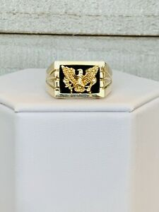 10k Yellow Gold Men's Ring, Gold Eagle with Olive Branch and Arrows Size 11
