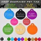 Pet ID Tag Engraved Deep Dog Cat Name Tags Personalised Customised Name Tag <br/> Double Sided Traditional Deep Engraved & Free Postage