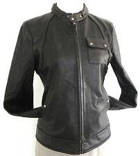 MxM Premium Lamb Skin Leather Biker Jacket Brown Zip Pockets Size Small