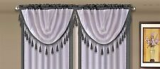 AMY 1PC Grey  White Faux Silk Rod Pocket Swag Waterfall Dressing Valance