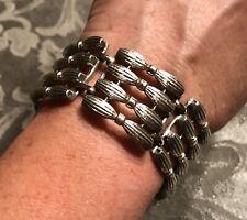 "Vintage Coro Signed Silver Tone Wide Link Bracelet 6 1/2"" Project Piece?"