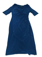 Ralph Lauren Blue Jersey V Neck Faux Wrap Dress 3/4 Sleeve Dress Size 8 / Large