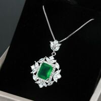 Damen Halskette Echt Silber 925 Smaragd Turmalin Stein Anhänger 4 Farbe Geschenk