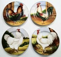 NIB SAKURA ON THE FARM SET OF 4 SALAD/DESSERT PLATES DAVID CARTER BROWN ROOSTERS