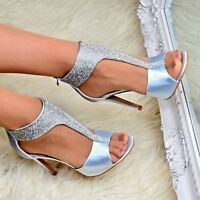 Ladies Fashion Satin High Heel Shoes Open Toe Evening T bar Zip Up Sandals Size