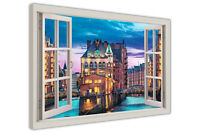 GERMANY HAMBURG CITY PRINT 3D WINDOW BAY EFFECT CANVAS WALL ART PICTURES FRAMED