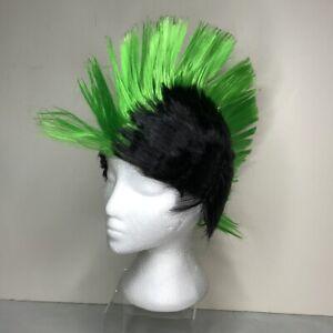 Wig Punk Rocker Green Black Mohawk Spike Theater Halloween Costume Cosplay