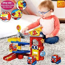 KID SOFT FIRE STATION CAR PARKING GARAGE SQUEEZABLE TOY BABY WHEEL FUN XMAS GIFT
