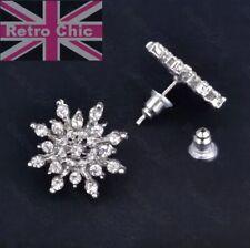 CRYSTAL SNOWFLAKE STUDS 2cm big rhinestone diamond SILVER FASHION stud earrings