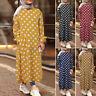 ZANZEA UK Women Long Sleeve Polka Dot Casual Loose Abaya Kaftan Baggy Maxi Dress