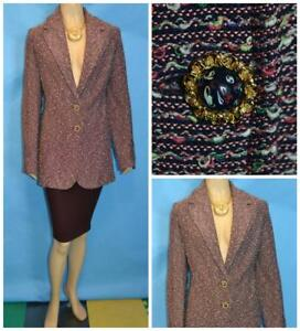 ST. JOHN Collection Red Navy Jacket L 14 12 Suit Blazer Buttons Multicolor