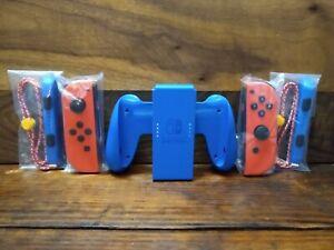 Nintendo Switch Mario Red & Blue Joy Cons w/ Wrist Straps & Grip Authentic NEW