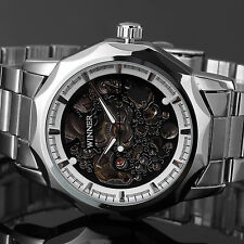 Fashion Men's Skeleton Automatic Mechanical Stainless Steel Military Sport Watch