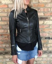 DIESEL L-ASTRID LEATHER JACKET BLACK $728 NEW Sz S
