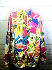 Women's Coldwater Creek Fun Bright Floral Denim Jacket Size 18
