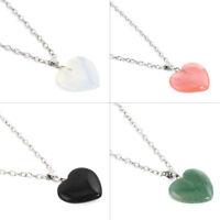 Stone Heart Gemstone Rock Natural Quartz Healing Point Chakra Pendant Necklace J