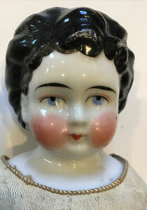 "19"" Antique Porcelain China Doll On Leather Body"
