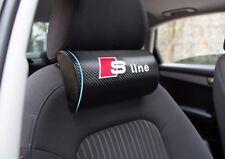 2Pcs For Vehicle SLine Carbon Fiber Car Seat Black Neck Cushion Pillows Headrest