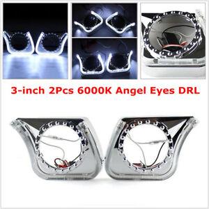 "3"" 2Pcs 6000K Angel Eyes DRL Integrated Light Cover Car Headlight/Fog Light/ 5W"