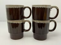 4 Vintage MCM Drip Glaze Coffee Mugs 8 oz Japan Brown Ceramic Cups Stackable