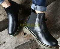 Mens High Top Retro Chukka Chelsea Ankle Boots Leather Oxford Pull On Shoes Sz @