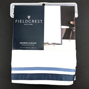 "Fieldcrest Shower Curtain 72""x72"" White with Blue Ribbon Border Cotton New"