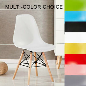 2x/4x Dining Chair Kitchen Office Lounge Seat Wood Legs Plastic Backrest Chair