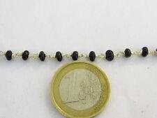 50 cm catenina rosario tono argento concatenata cristallo nero di 3,5 mm