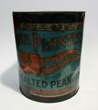 1910-1920's THE PLANTERS TIN LARGE 10 LBS PENNANT PEANUTS RARE NICE GRAPHICS!