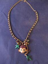 Betsey Johnson Monkey Ribbon Weave Charm Necklace - Jungle Theme