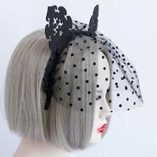 Black Net Veil Hair Band Fancy Dress Cat Ear Head Hoop Party Ball Halloween Shan